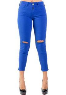 40d73e938 ... Calça Sarja Skinny Destroyed Color Colcci - Feminino-Azul
