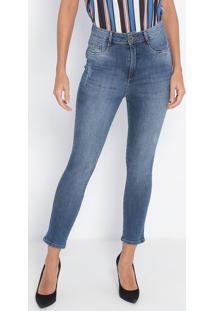 Jeans Super High Ankle Com Bolsos- Azul- Lança Perfulança Perfume