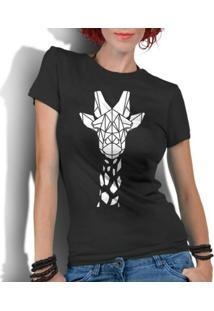 Camiseta Criativa Urbana Girafa Tribal - Feminino-Preto