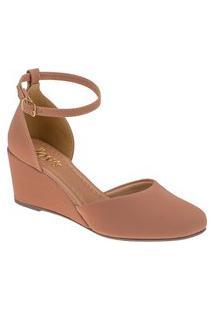 Sandalia Anabela Feminina Sapato Plataforma Nude Joys