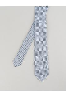 Gravata Em Jacquard Estampada Geométrica Azul Claro