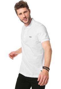 Camisa Polo Coca-Cola Jeans Logo Branca