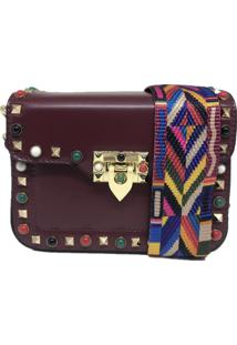 Bolsa Casual Transversal Alça Colorida Sys Fashion 831617 Vinho