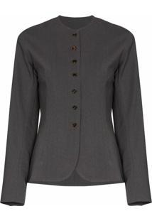 Eftychia Blazer Com Abotoamento Simples De Lã Sem Colarinho - Cinza