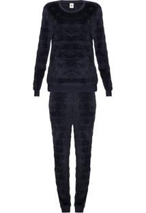 Pijama Feminino Longo Em Fleecê Texturizado