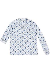 Camisa Feminina Em Tecido Com Manga Martingale