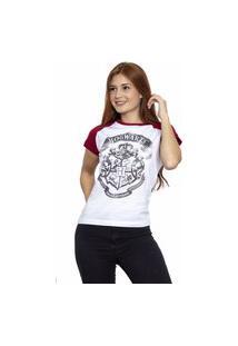Camiseta Sideway Harry Potter Logo Hogwarts - Branco/Vinho