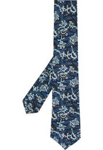 Kiton Gravata Floral - Azul
