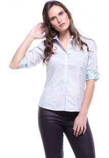 Camisa Intens 7/8 Algodão Listrado Floral Bege
