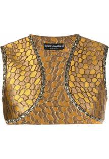 Dolce & Gabbana Jaqueta Cropped De Jacquard - Amarelo