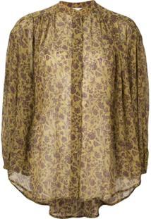Zimmermann Blusa Floral Com Botões - Dourado