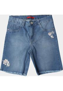 Bermuda Jeans Biotipo Bordada Plus Size Feminina - Feminino