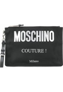 Moschino Clutch Com Estampa - Preto