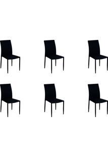 Kit 06 Cadeiras Amanda Tecido Preto Rivatti