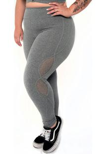 Calça Legging Supplex® Plus Size Hot Pants Cinza