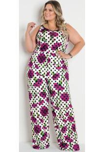 Macacão Pantalona Poá E Floral Plus Size
