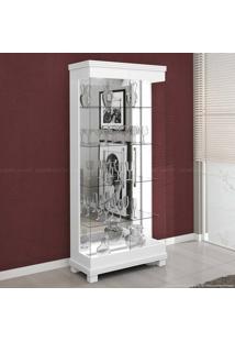 Cristaleira 2 Portas De Vidro E Luminária Bivolt Collins Branco Acetinado - Urbe Móveis