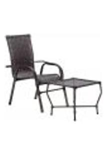 Conjunto Mesa Baixa E Cadeira Para Área Edicula Jardim Bela, Ferro E Fibra Trama Fechada Pedra Ferro