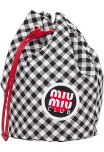 Miu Miu Checked Vichy Drawstring Bag - Preto