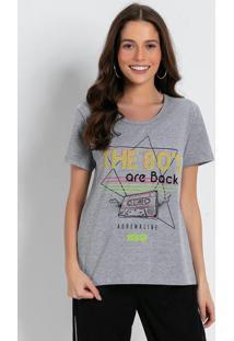 Blusa T-Shirt Com Estampa Frontal Mescla