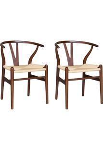 Kit 2 Cadeiras Decorativas Sala De Jantar E Cozinha Bella Madeira Bétula Tabaco - Gran Belo - Tricae