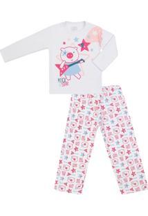 Pijama Longo Feminino Moletom Rock Star - Feminino