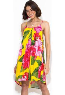 Vestido Curto Chita Tropical Amarelo