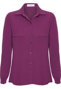 Camisa Feminina Crepe - Roxo
