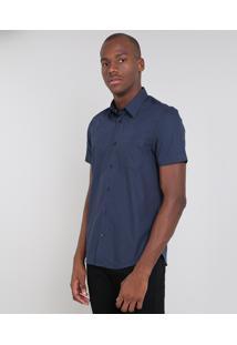 Camisa Masculina Comfort Estampada Com Bolso Manga Curta Azul Marinho