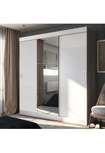 Guarda-Roupa Casal 3 Portas De Correr 100% Mdf Emp Com Espelho Branco - Pnr Móveis