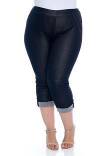 Calça Plus Size Fajos Capri Jeans Barrinha Virada Thelma