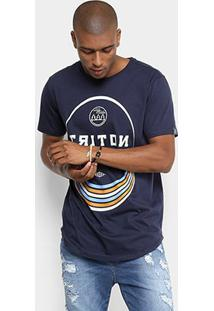 Camiseta Triton Estampada Oversized Masculina - Masculino-Azul