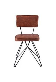 Cadeira Pop Retro Courissimo Marrom Base Estrela Preta 53Cm - 61250 Marrom