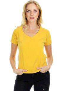 Camiseta Aha Manga Curta Básica Lisa Com Decote Em V E Acabamento Em Viés Amarelo
