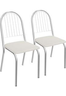 Kit 2 Cadeiras Noruega De Metal Cromado 2C077 Crome