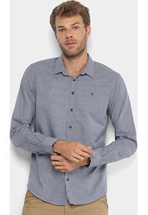 Camisa Forum Manga Longa Smart Masculina - Masculino-Azul+Branco