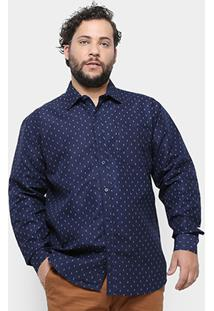 Camisa Social Delkor Plus Size Masculina - Masculino-Marinho
