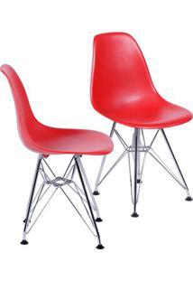 Jogo De Cadeiras Eames Dkr- Vermelho & Prateado- 2Pçor Design
