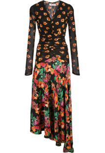 Diane Von Furstenberg Vestido Assimétrico Com Estampa Floral - Preto