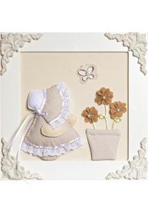 Quadro Decorativo Camponesa Vaso Quarto Bebê Infantil Menina Potinho De Mel Bege