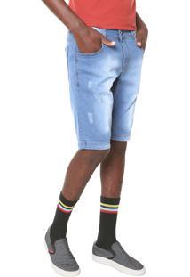 Bermuda Jeans Fiveblu Reta Estonada Azul