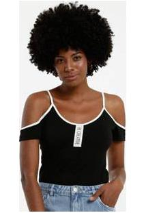 Body Feminino Open Shoulder Textura Manga Curta