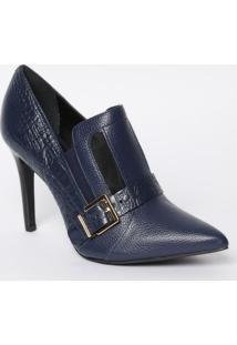 Ankle Boot Em Couro Com Fivela - Azul Marinho - Saltjorge Bischoff