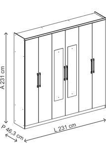 Guarda-Roupa 6 Portas Carraro Mitra 856 C Espelho Anis Camurça Se