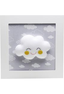 Quadro Decorativo Nuvem Com Carinha Bebê Infantil Potinho De Mel Cinza