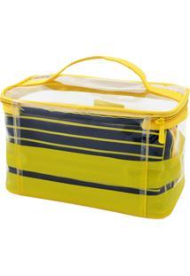 Kit Necessaire 2 Em 1 Tamanho G Listrada Jacki Design Felicita Amarelo - Kanui