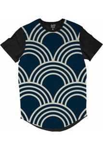 Camiseta Longline Long Beach Náutica Arcos Sublimada Azul Marinho