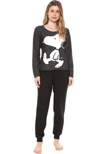 Pijama Snoopy Estampado Cinza