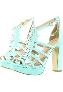 Sandália Week Shoes Salto Grosso Corte Laser Turquesa Tiffany
