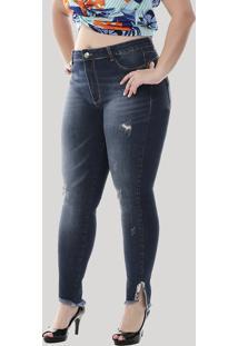 Calça Jeans Sawary Feminina Cigarrete Barra Desfiada Com Strass Plus Size Azul Médio
